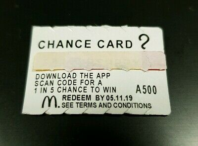 "20 ** Unclaimed ** Mcdonald's Monopoly 2019 "" Chance Cards "", Brand New."