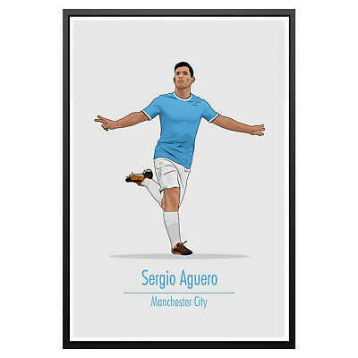 Sergio Aguero Manchester City Poster Photo Art Print Man City Memorabilia