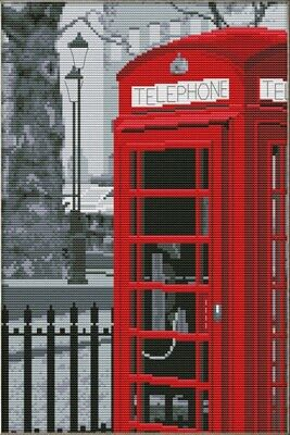 Telephone Booth. 14CT Counted Cross Stitch Kit. Craft Brand New.