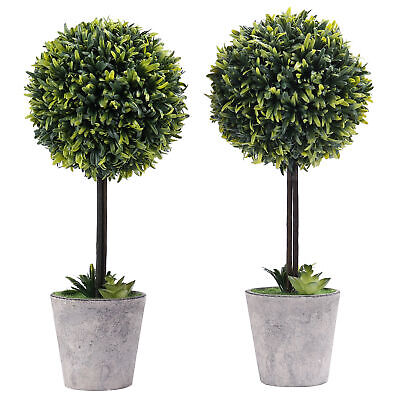 Artificial Boxwood Topiary Tree in Modern Gray Pulp Planter, Set of 2