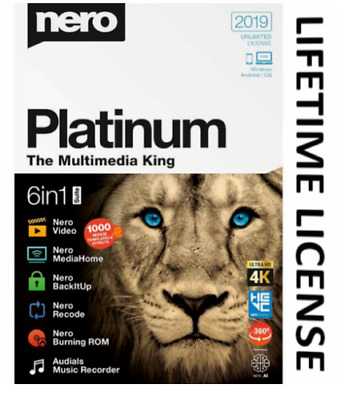 Nero Platinum 2019 6 in 1 Ultra HD Lifetime License Instant Delivery