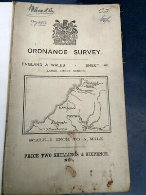 1905 Old OS Ordnance Survey One-Inch large sheet series Map 146 Truro area