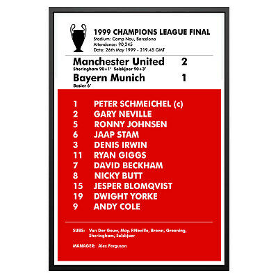 Manchester United 1999 Champions League Final Poster Print Man Utd Memorabilia