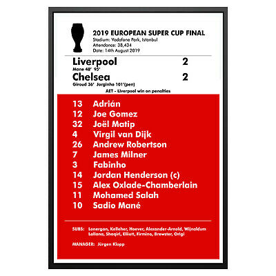 Liverpool 2019 European Super Cup Final Poster Art Print Liverpool Memorabilia