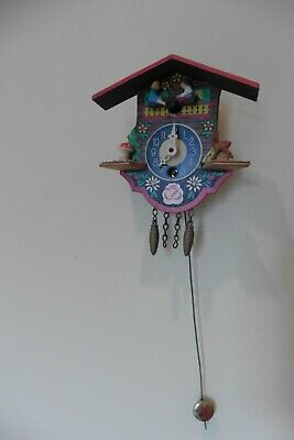 Vintage German J. Engstler Cuckoo Style Clock with Moving Figurines Small Clock