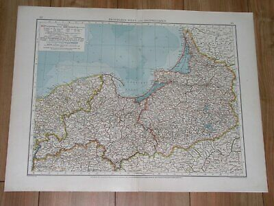 1912 Antique Map Of West And East Prussia Danzig German Empire Germany Poland