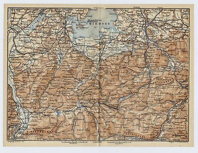 1895 Antique Map Of Southern Vicinity Of Chiemsee Bavarian Sea Bavaria Germany
