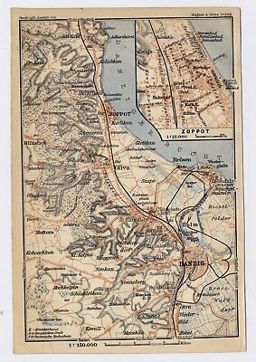 1910 Original Antique Map Of Zoppot Sopot Danzig Gdansk Vicinity Poland Germany