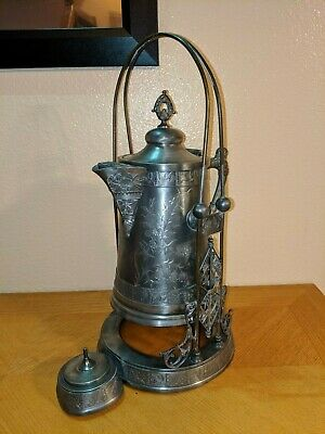 Antique Pairpoint Silverplate Tilting Water Pitcher W/ Ceramic Liner - 1802 1/2