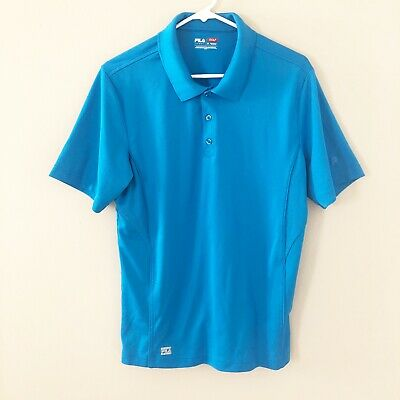 Fila Sport Golf Mens Size M Medium Polo Shirt Blue Short Sleeve