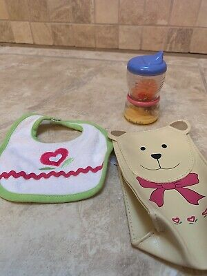 American girl Doll Lot Bitty Baby Bib, Snack Cup And Lunch Bag