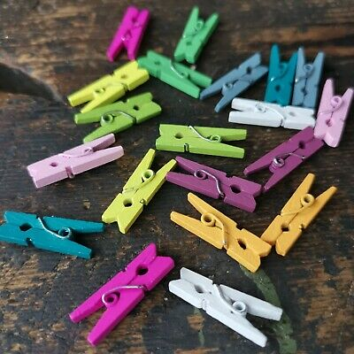 60 Mini Wood Pegs Craft Wedding Hanging Photo Small Clips Wooden Tiny Art Clip