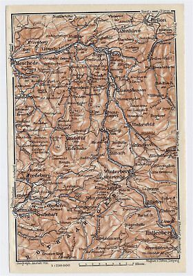 1911 Antique Map Of Vicinity Of Meschede Brilon Rothaar Mountains Germany