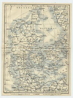 1909 Original Antique Map Of Denmark