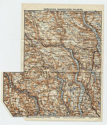 1909 Original Antique Map Randsfjorden Vicinity Lake Oppland Lillehammer Norway