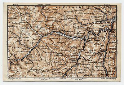 1911 Antique Map Vicinity Of Kreuznach Sobernheim Kirn Idar Meisenheim / Germany