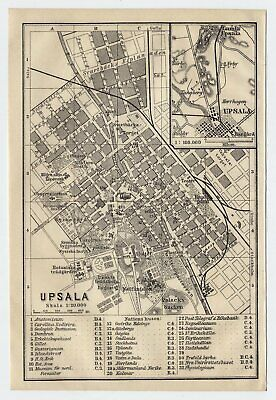1909 Original Antique City Map Of Uppsala / Upsala / University / Sweden