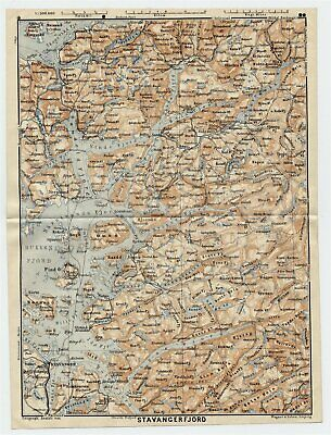 1909 Original Antique Map Of Rogaland Stavanger Fjords / Norway