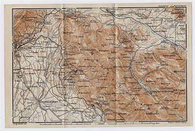 1909 Antique Map Of Vicinity Of Velletri Cori Monti Lepini / Lazio / Italy