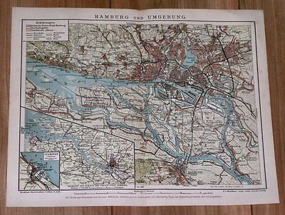 1900 Original Antique Map Of Hamburg Vicinity Altona Harburg Blankenese Germany