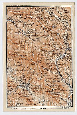 1910 Antique Map Of Bohemian / Bavarian Forest / Bavaria Germany