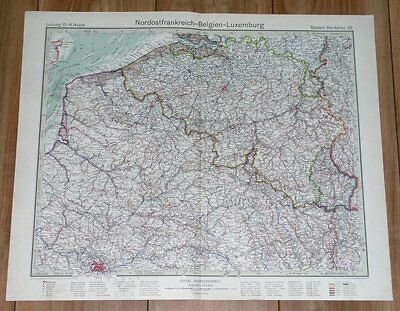 1932 Original Vintage Map Of Belgium Luxembourg / Northern France