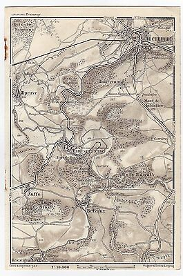 1910 Antique Map Of Vicinity Of Rochefort / Namur Wallonia Belgium