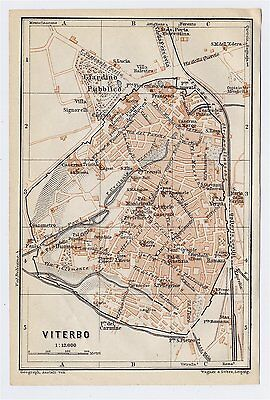 1909 Antique City Map Of Viterbo / Lazio / Italy