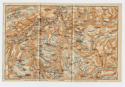 1912 Original Antique Map Of Vicinity Of Boeverdal Boverdal Jotunheimen / Norway