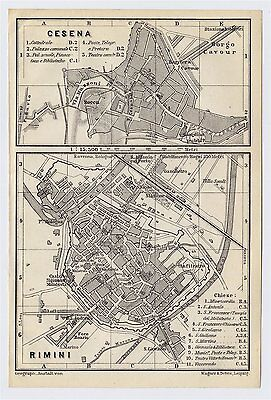 1909 Antique City Map Of Cesena And Rimini / Emilia-Romagna / Italy