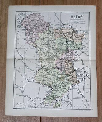 1898 Antique Map Of The County Of Derby Derbyshire Chesterfield / England