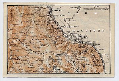 1911 Original Antique Map Of Vicinity Of Stresa / Lake Maggiore / Piedmont Italy