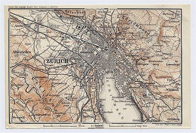 1911 Original Antique Map Of Vicinity Of Zurich Zuerich / Switzerland