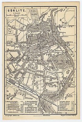 1897 Antique City Map Of Goerlitz Gorlitz Zgorzelec Poland Germany Silesia