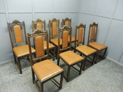 A Set Of 8 Oak Arts And Crafts Dining Chairs Circa  1900-1910
