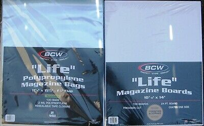 (100) Bcw Resealable Life Magazine Size Bags / Covers & Backing Boards