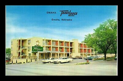 Us Postcard Street View Of Omaha Travel Lodge & Classic Cars In Omaha Nebraska