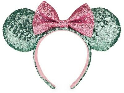 NEW Disney Parks Green Pink Sugar Rush Minnie Mouse Ears Headband Sequin Glitter
