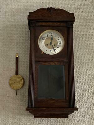 """Antique 31"""" Wall Clock // carving on cabinet // pendulum // brass dial // Maker?"""