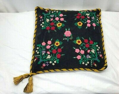 """Vintage Antique Embroidered Pillow Cushion Arts and Crafts Floral Tassels 20x20"""""""