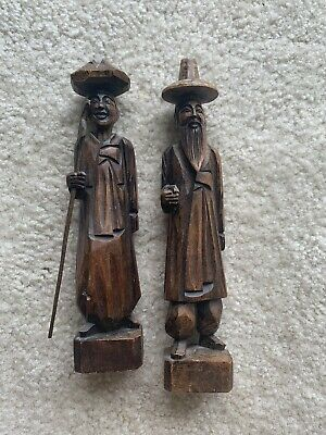 Antique ASIAN COUPLE HAND CARVED WOOD CARVING FIGURINE STATUE