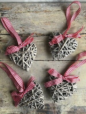 4 Wicker Hanging Hearts With Red Gigham. Christmas Decorations.