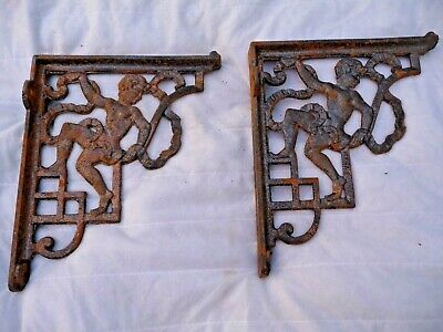 "Vintage Pair Iron Shelf Brackets Or Cistern Decorative 8"" X 9.75"" Architectural"