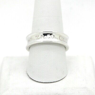 TIFFANY & CO. 925 Sterling Silver T & CO 1837 Band Ring Size 10 with Pouch