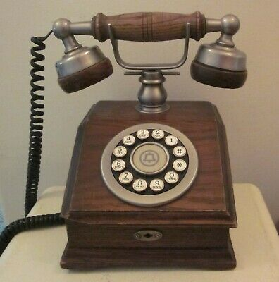 Vintage Wooden French Style Bell System Touch Tone Telephone Phone