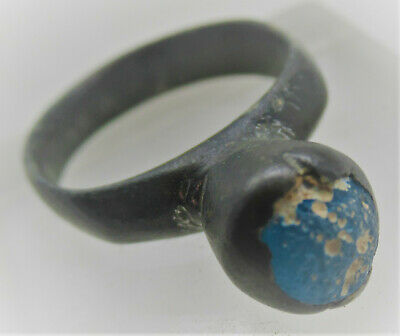 Circa 1000Ad Viking Era Nordic Bronze Ring With Blue Stone Inset Very Nice