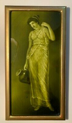 Sherwin & Cotton G.Cartlidge Art Pottery Tile-Woman w/ Jug - Green Glaze c. 1890