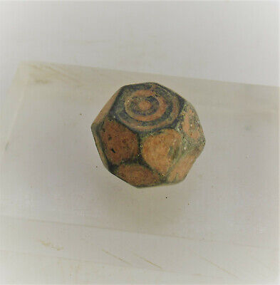 Ancient Byzantine Polygonal Weight With Ring And Dot Motifs Rare