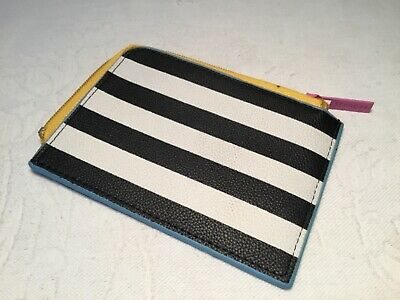 Sephora Black and White Striped Gift Card Wallet Pink and Yellow Zipper Closure