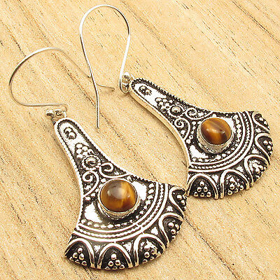 """925 Silver Plated TIGER'S EYE Ancient Style Oxidized Earrings Jewelry 2"""""""
